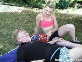 Lustful teen Tyna Gold seduces old man and bangs him right in the park
