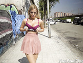 Uninhibited blonde Marica Chane is flashing jewel anal plug in public