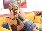 Slutty blonde with full natural boobs gives a great blowjob and gets her cunt rammed