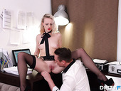 Blonde with bright red lips Hanna Rey gets laid after a steamy blowjob session