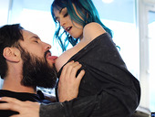 Blue haired chick Jewelz Blu is fucked by bearded boyfriend