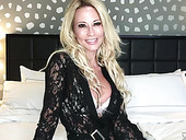 Webcam milf is playing with big fake boobs and favorite dildo fellow