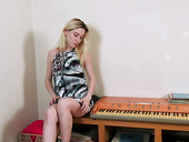 Pretty pianist Winter Jade is playing with wet and sex starved pussy