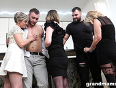 Three lustful grannies fuck two handsome and young men