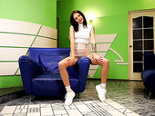 Pretty teen in white socks Lina Lovely is masturbating wet yummy pussy