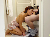 Asian stepsister Elle Voneva gives a blowjob to her pooping stepbrother