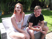 Red haired bitch Xeena Mae is fucked and creampied by the pool