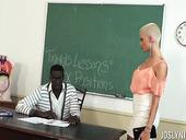 Bald headed student Joslyn James is fucked by ebony teacher