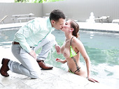 Stunning milf Ally Cooper gets her pussy slammed by the pool