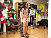 Lustful girl Viva Athena is changing her clothes in front of one fetish man