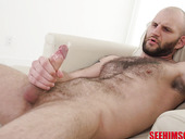 Brutal hairy guy with sweaty armpits Brian Omally is jacking off hard dick
