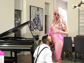 Bisexual black guy fucks blond shemale in fishnets Lena Moon