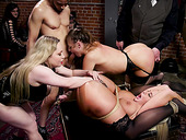 Hardcore BDSM group sex in public