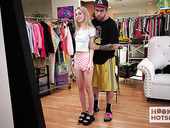 Chanel Shortcake is changing her clothes in front of one kinky dude
