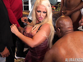 Bomb ass cougar Alura Jenson is fucked by several black guys