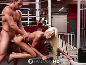 Fitness chick Rikki Six gives her head and gets laid in the gym