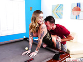 Sassy tattooed milf Kleio Valentien gets fucked on the billiard table