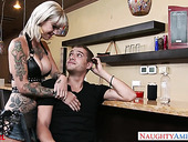 Tattooed whore Kleio Valentien gives a blowjob and gets her slit rammed