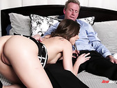 Cute petite chick Riley Reid is fucked hard by elder lover Mark Wood