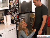Fucking hot wife's friend Julia Ann gets into pants and sucks cock