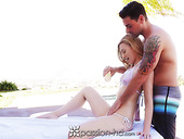 Poolside pampering with seductive small tittied babe Alexa Grace