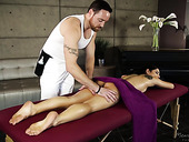 Elder man gives a full body massage to sexy babe Gina Valentina and fucks her pussy