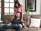 Lewd housewife August Ames sucks hard dick before steamy cock riding session