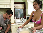 Sexy and hot Yurizan Beltran teaches the guy baking and fucks him in her bed