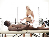 Big tittied masseuse Bridgette B gives a full body massage to one black man