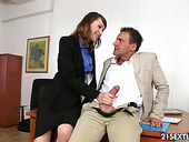 Sex-insane accountant Macy Nata gets double penetrated in the office