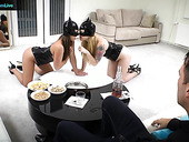 Two whores in latex give a blowjob to one rich client and he fucks their stretched holes