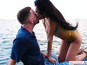 Uninhibited girlfriend Adria Rae gives a blowjob outdoor and gets laid in public