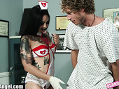 Tattooed babe in sexy nurse uniform Michael Vegas bangs one kinky patient