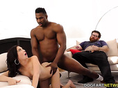 Fat loser is watching his young pretty wife enjoys BBC penetrating her ass hole