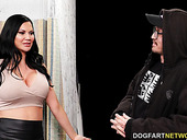 Bodacious brunette with D-cup boobs Jasmine Jae goes wild in the gloryhole room