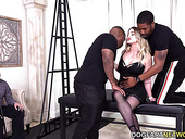 Submissive husband watches his whore wife sucking two big black dicks