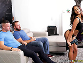 Ebony Latina Scarlit Scandal is fucked by two hot blooded fellows