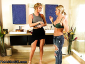 Bisexual masseuse Val Dodds gives a nuru massage to sexy blonde Jessa Rhodes