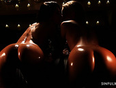 Stunners Lexi Dona & Victoria Pure are making love by candlelight