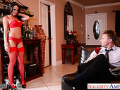 Wife's friend in provocative lingerie Rahyndee James offers herself