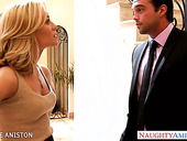 Hospitable housewife Nicole Aniston gives a good blowjob to her guest
