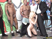 Several black men fuck slutty white blondie Melanie Jayne and jizz on her face