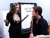Sex-hungry office babe Alex Chance gets intimate with janitor