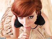 Hot like fire red haired babe Veronica Avluv gives a wonderful blowjob