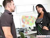 Bad student Johnny seduces seductive 50 yo teacher with D-cup boobs Lezley Zen