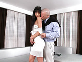 Young mistress sucks a big old dick before steamy pussy pounding