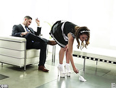 Young pretty maid in uniform Dillion Harper is polishing boss's cock