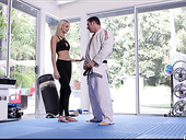 Karate girl Emma Hix is making love with her coach during workout