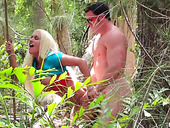 Fake titied bodybuilder Ashley Chambers is fucking in the woods