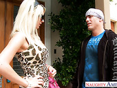 Dad's new slut Jazy Berlin gives a wonderful blowjob outdoor and gets fucked on the stairs